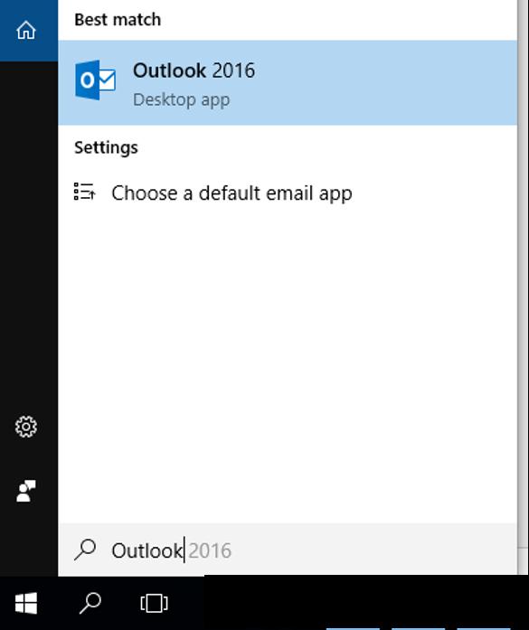 Busque o aplicativo do Outlook na lupa do seu Windows.