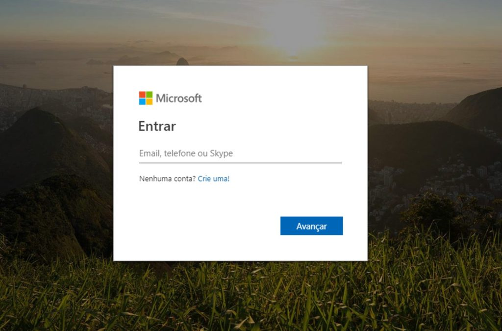 Tela para colocar seu e-mail do Outlook